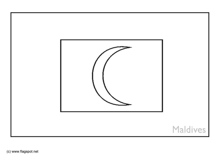 Coloring page flag Maldives