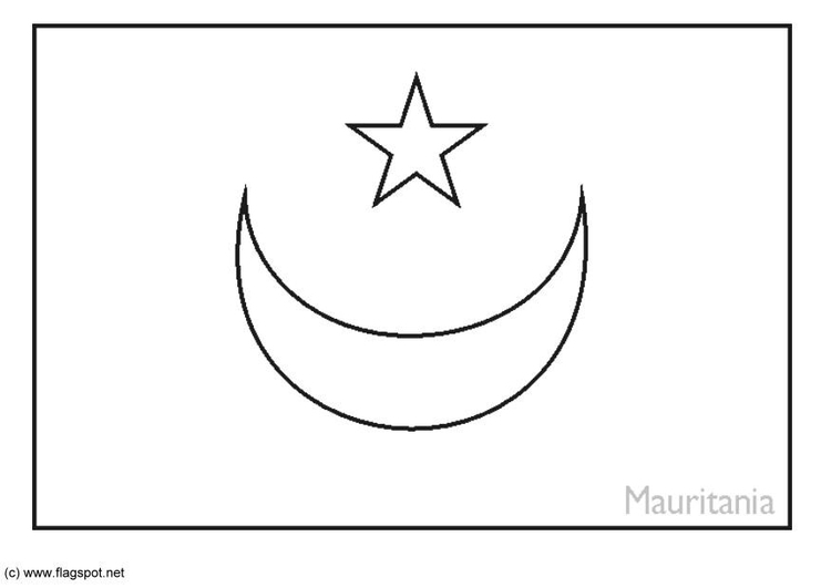 Coloring page flag Mauritania