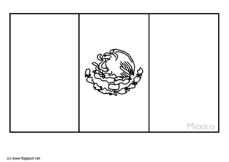 Coloring page flag Mexico