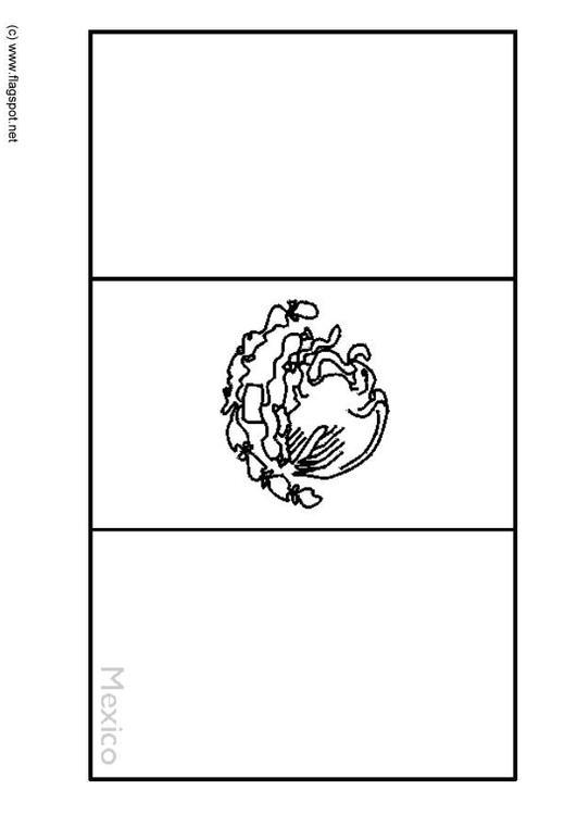 Coloring page flag mexico img 6337 for Mexican flag coloring page