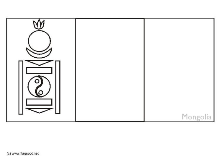 Coloring page flag Mongolia