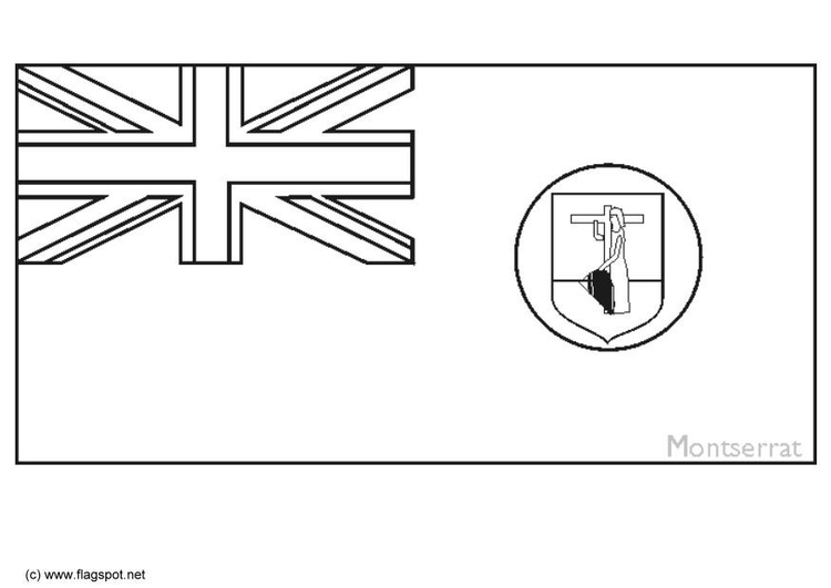 Coloring page flag Monserrat