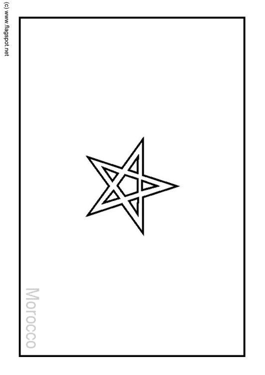 Coloring Page Flag Morocco