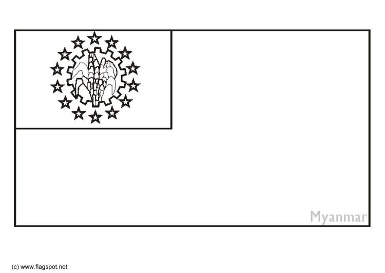 Coloring page flag Myanmar