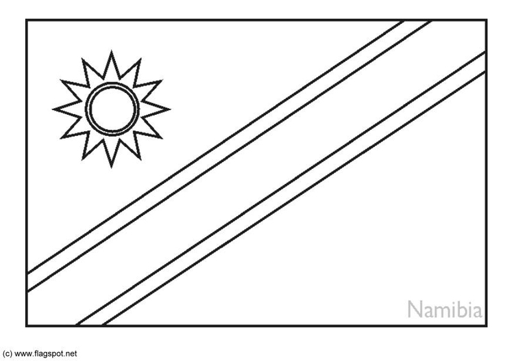 Coloring page flag Namibia