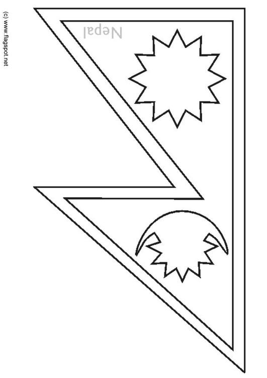 Coloring Page Flag Nepal