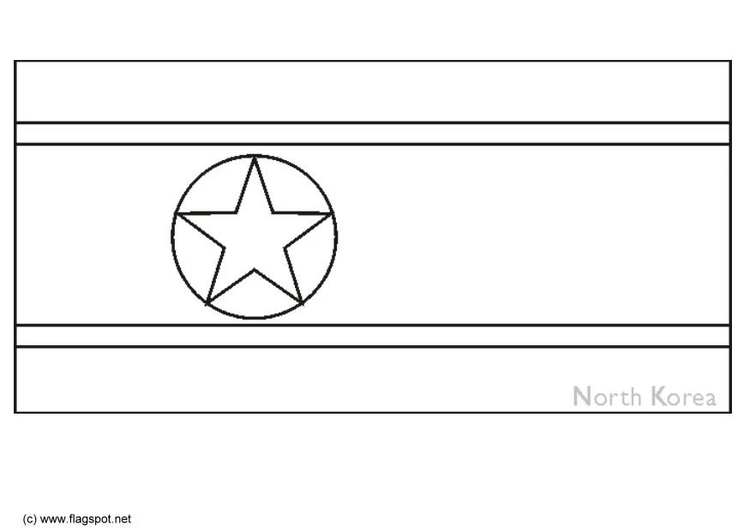 Coloring page flag North Korea