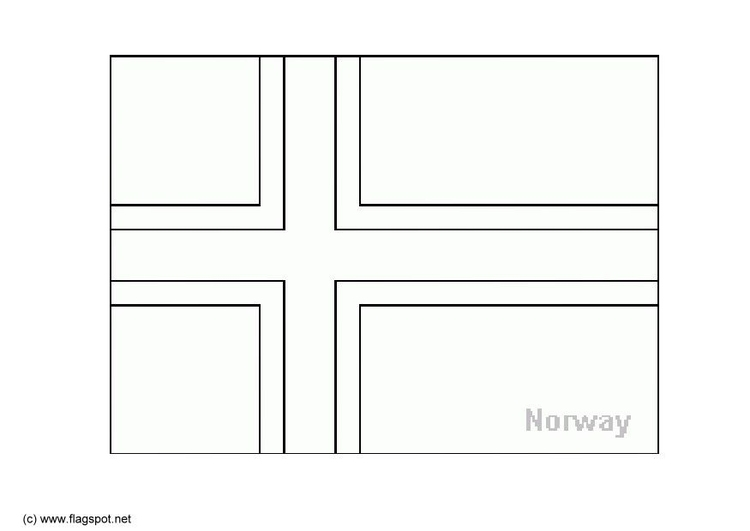 Coloring page flag Norway