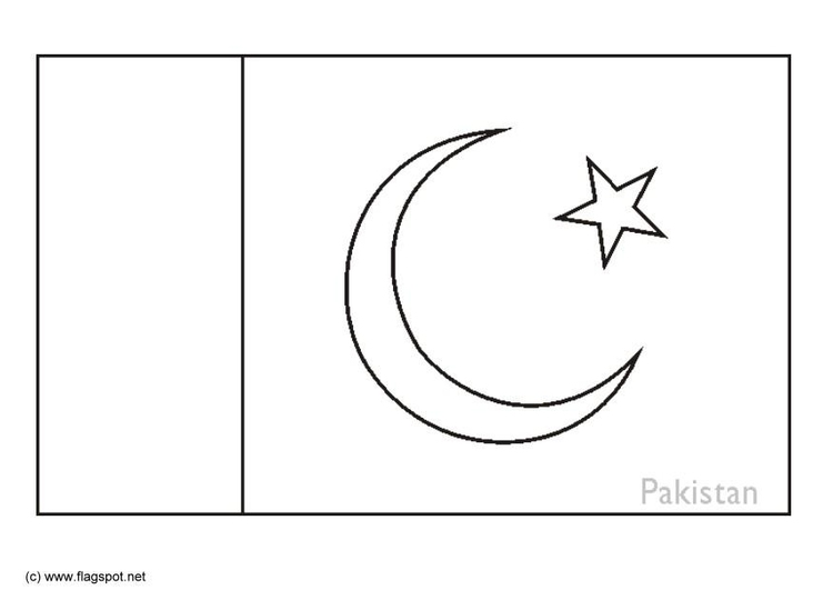 Coloring page flag Pakistan