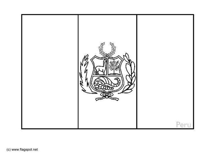 Coloring page flag Peru