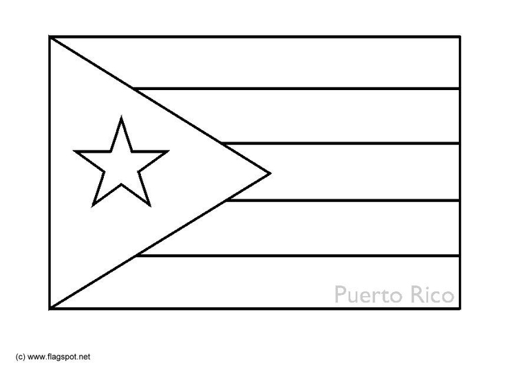 Coloring page flag Puerto Rico