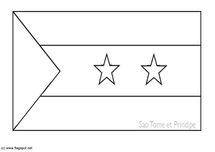 Coloring page flag Sao Tome and Principe