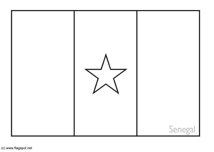 Coloring page flag Senegal