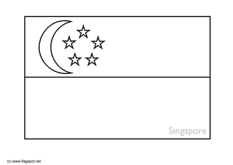Coloring page flag Singapore