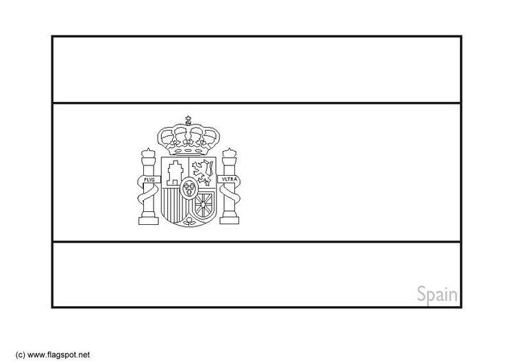 Coloring page flag Spain 2