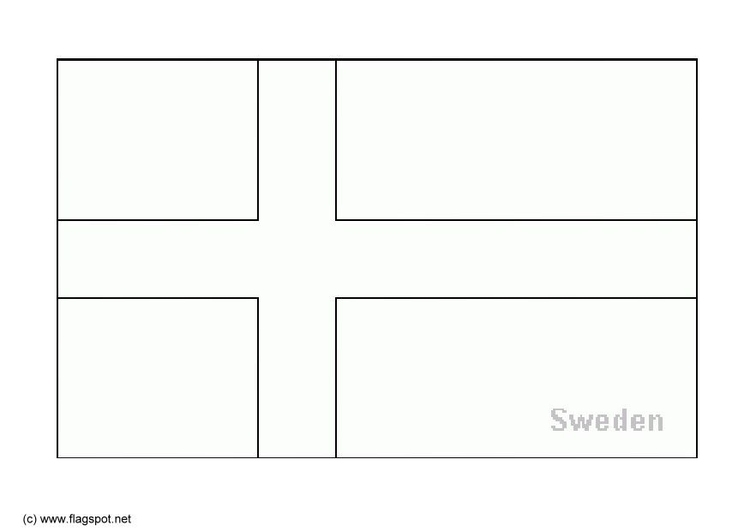 Coloring page flag Sweden
