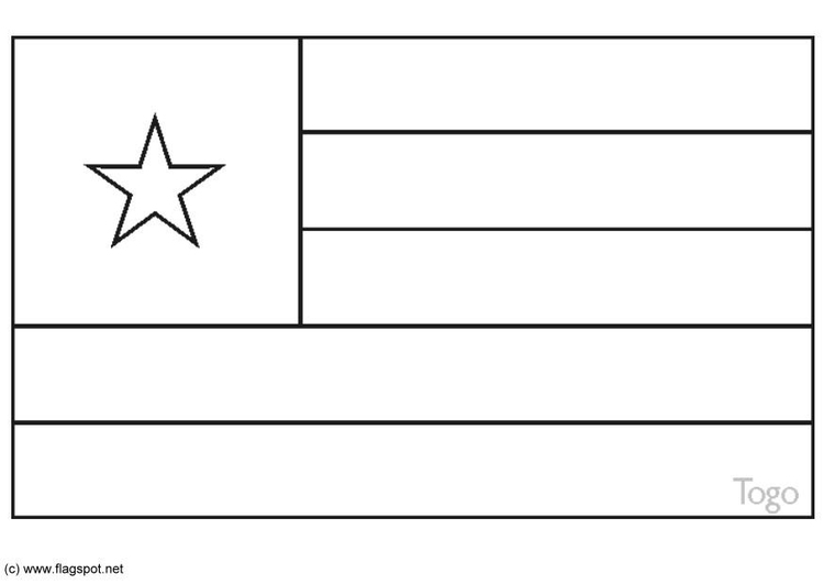 Coloring page flag Togo