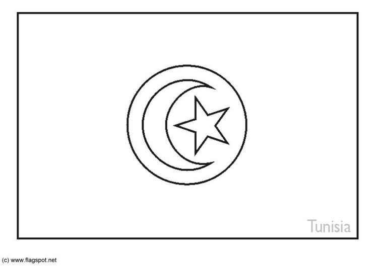 Coloring page flag Tunisia