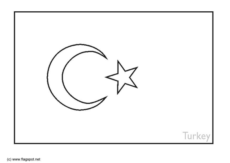 Coloring page flag Turkey