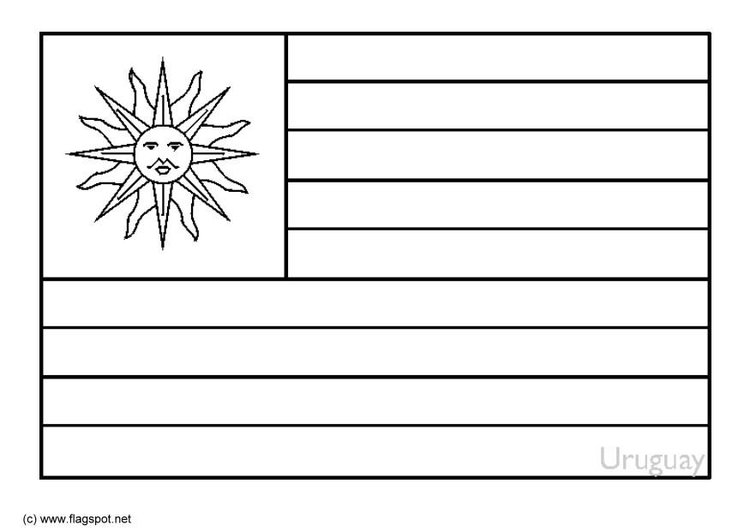 Coloring page flag Uruguay