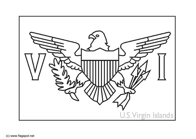 Coloring page flag Virgin Islands USA