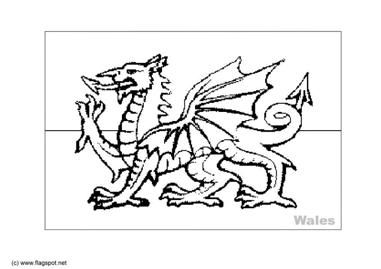 Coloring page flag Wales