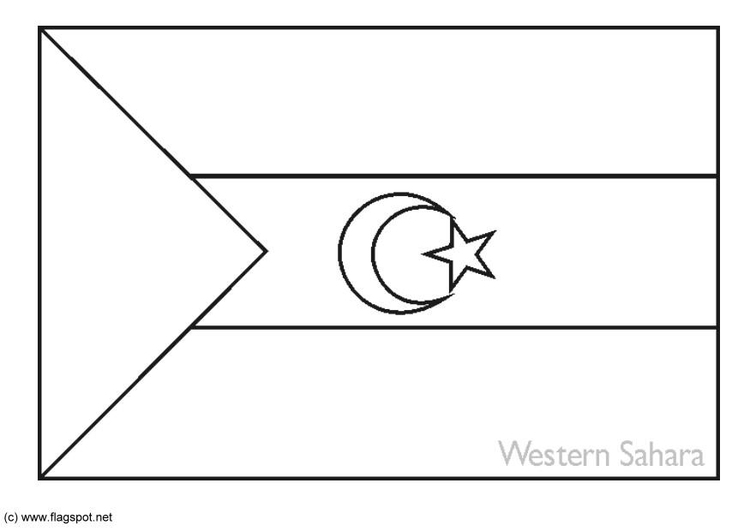 Coloring page flag Western Sahara