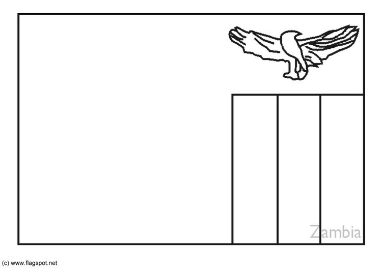 Coloring page flag Zambia