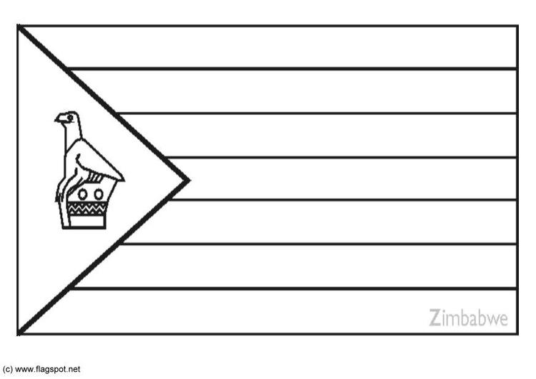 coloring page flag zimbabwe
