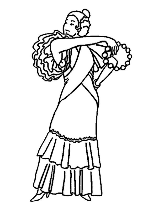 Coloring page Flamenco dancer - img 19010.