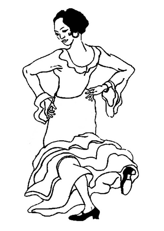 Coloring page flamenco dancer