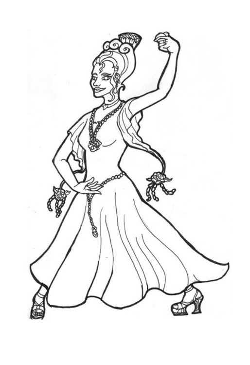 Coloring page flamenco princess