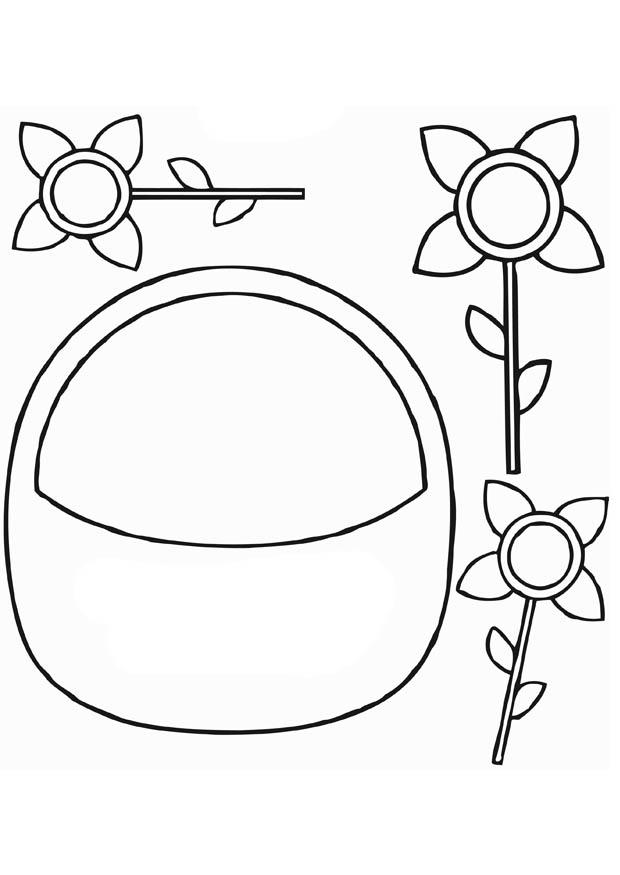 Coloring page flower basket img 13826