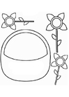 Coloring page flower basket