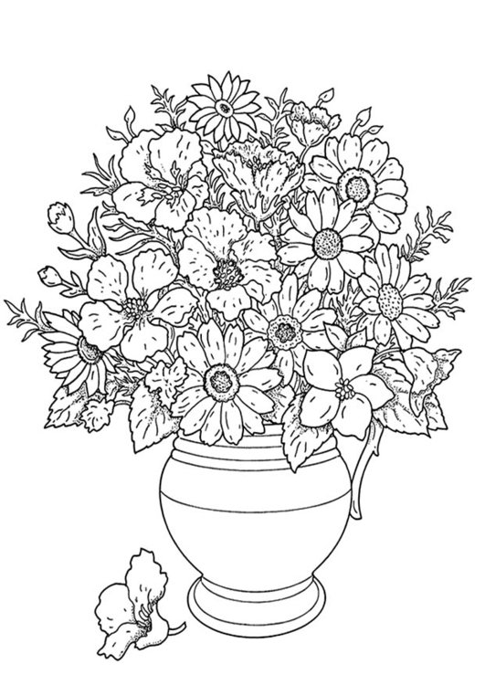 Coloring page flower bouquet