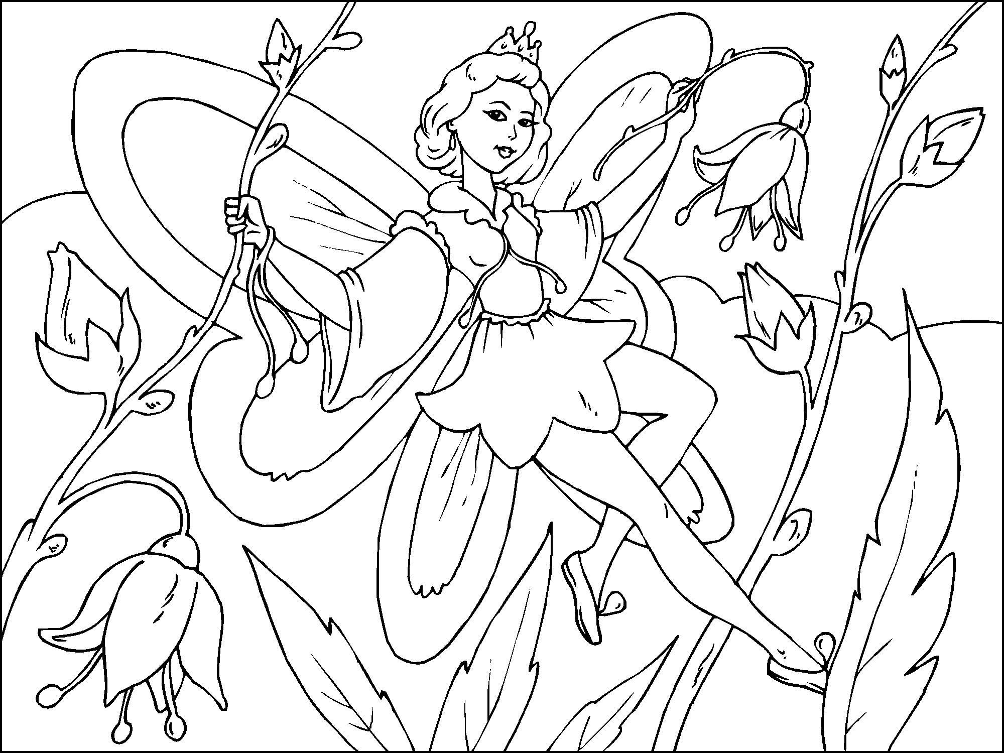 coloring page flower fairy img 22817. Black Bedroom Furniture Sets. Home Design Ideas