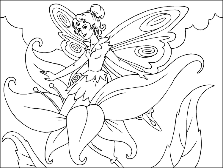 Coloring Page Flower Fairy