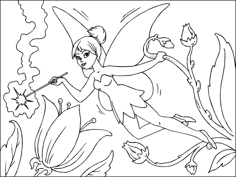 Coloring page flower fairy - img 22815.