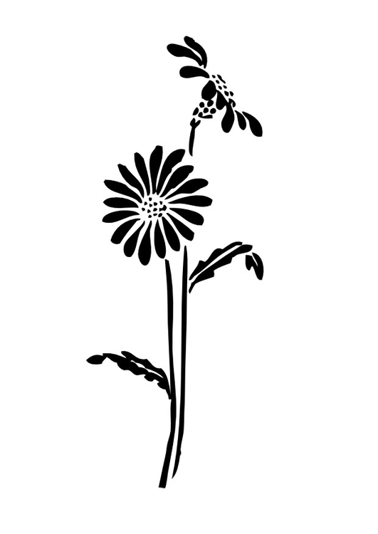 Coloring page flower silouette