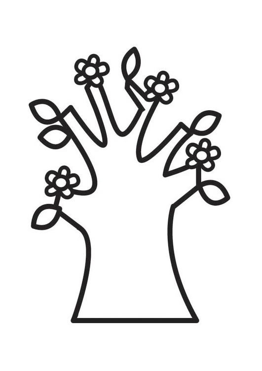 Coloring page Flowering tree in spring