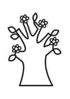 Coloring pages Flowering tree in spring