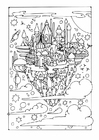 Coloring page flying city