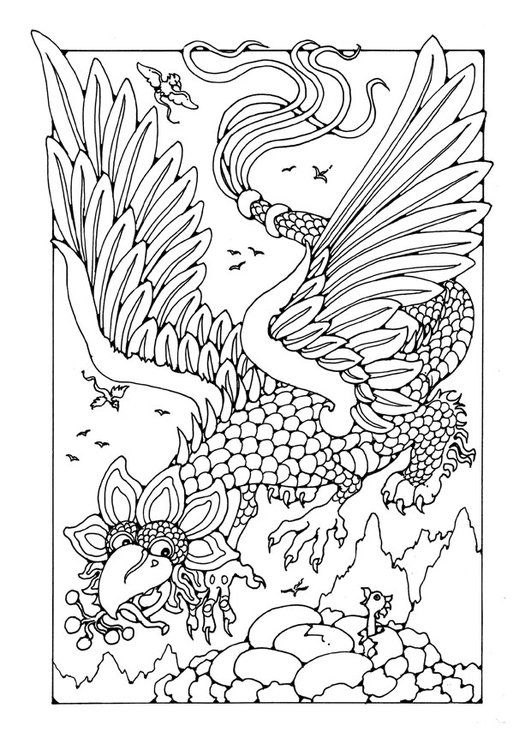 Coloring page flying dragon