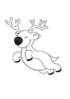 Coloring page flying reindeer