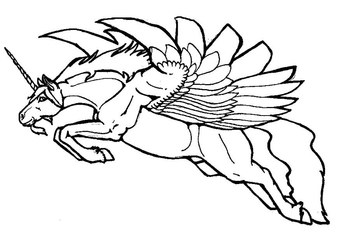 Coloring page flying unicorn