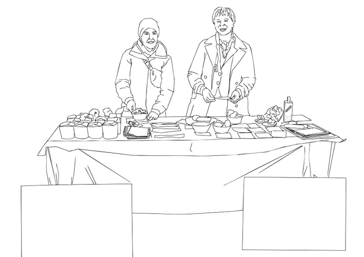 Coloring page food aid