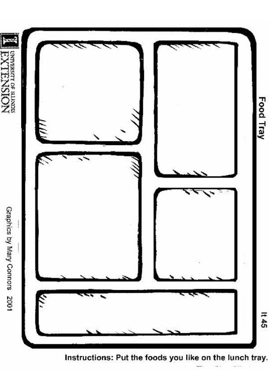 Coloring page food tray