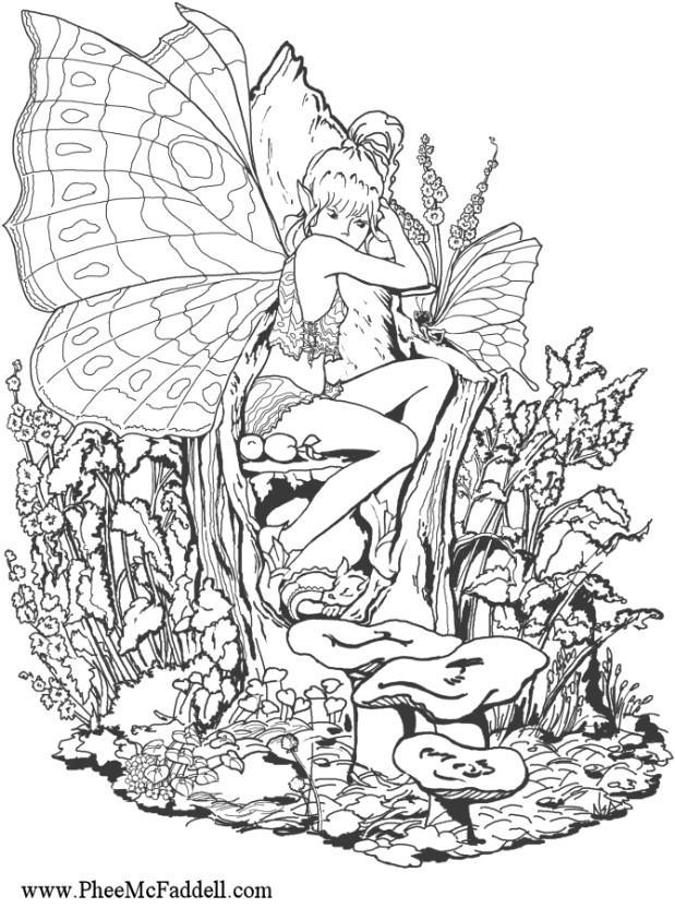 coloring page forest fairy img 6887. Black Bedroom Furniture Sets. Home Design Ideas