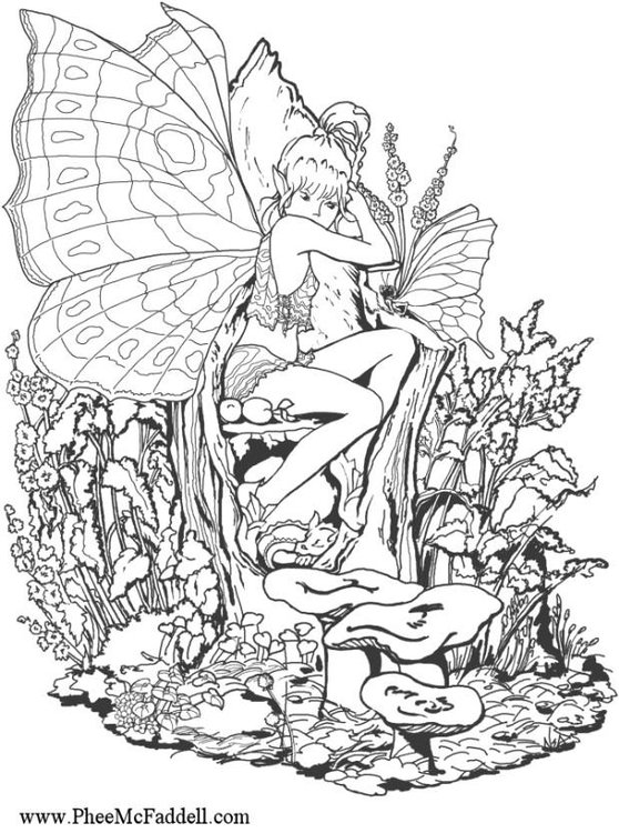 Coloring Page Forest Fairy