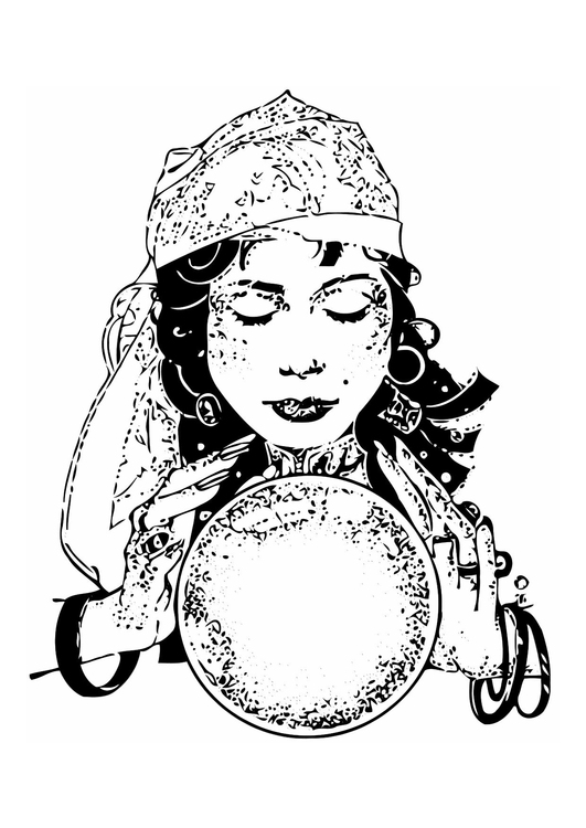 Coloring page fortune teller
